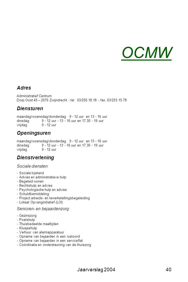 OCMW Adres Diensturen Openingsuren Dienstverlening Jaarverslag 2004