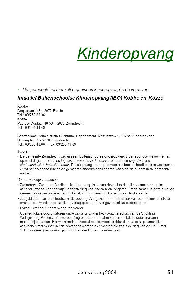 Kinderopvang Het gemeentebestuur zelf organiseert kinderopvang in de vorm van: Initiatief Buitenschoolse Kinderopvang (IBO) Kobbe en Kozze.