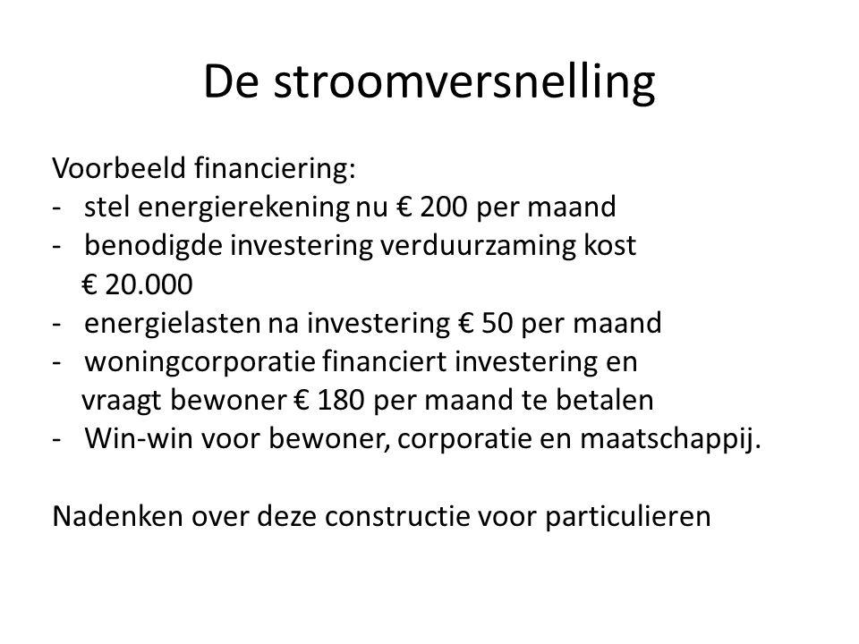 De stroomversnelling Voorbeeld financiering: