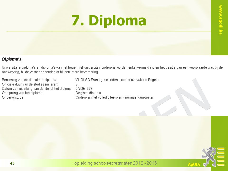 opleiding schoolsecretariaten 2012 - 2013