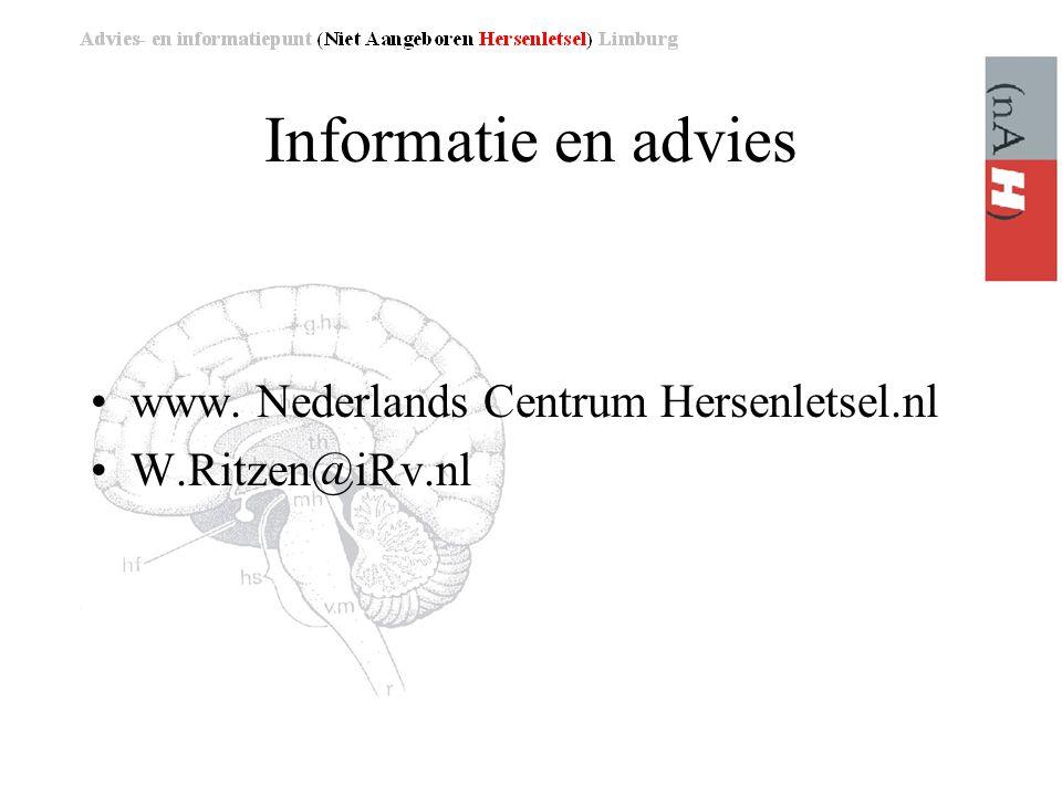 Informatie en advies www. Nederlands Centrum Hersenletsel.nl