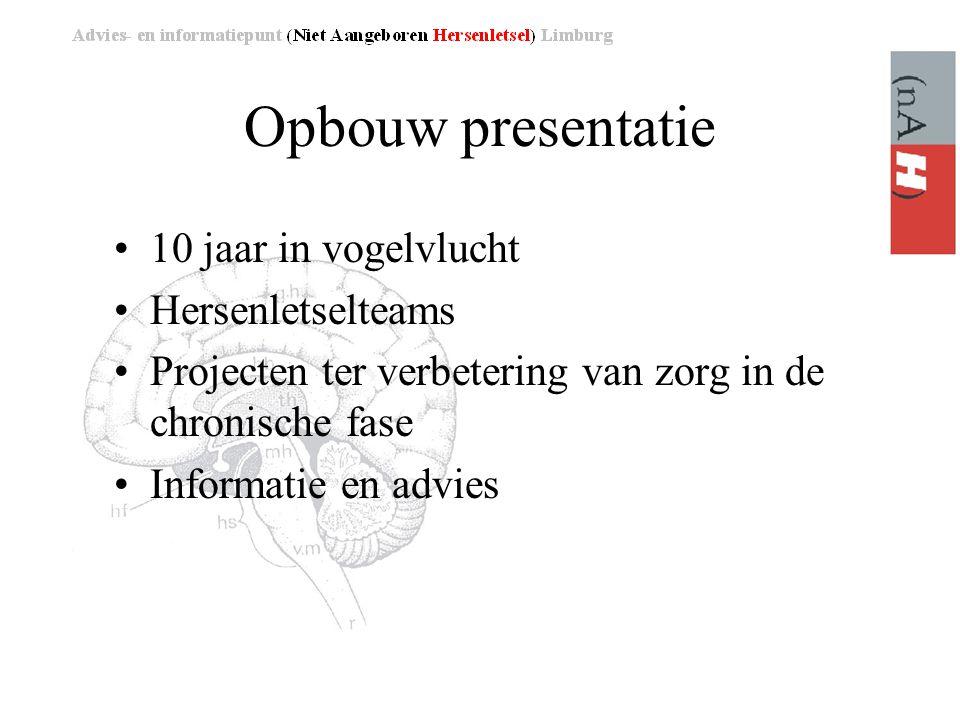Opbouw presentatie 10 jaar in vogelvlucht Hersenletselteams