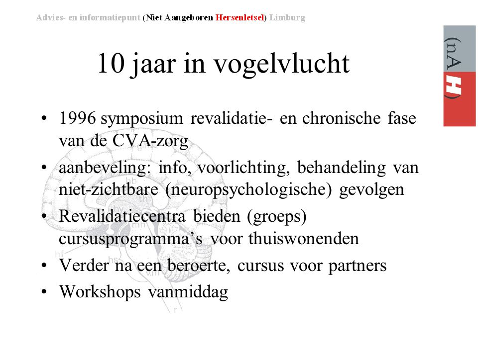 10 jaar in vogelvlucht 1996 symposium revalidatie- en chronische fase van de CVA-zorg.