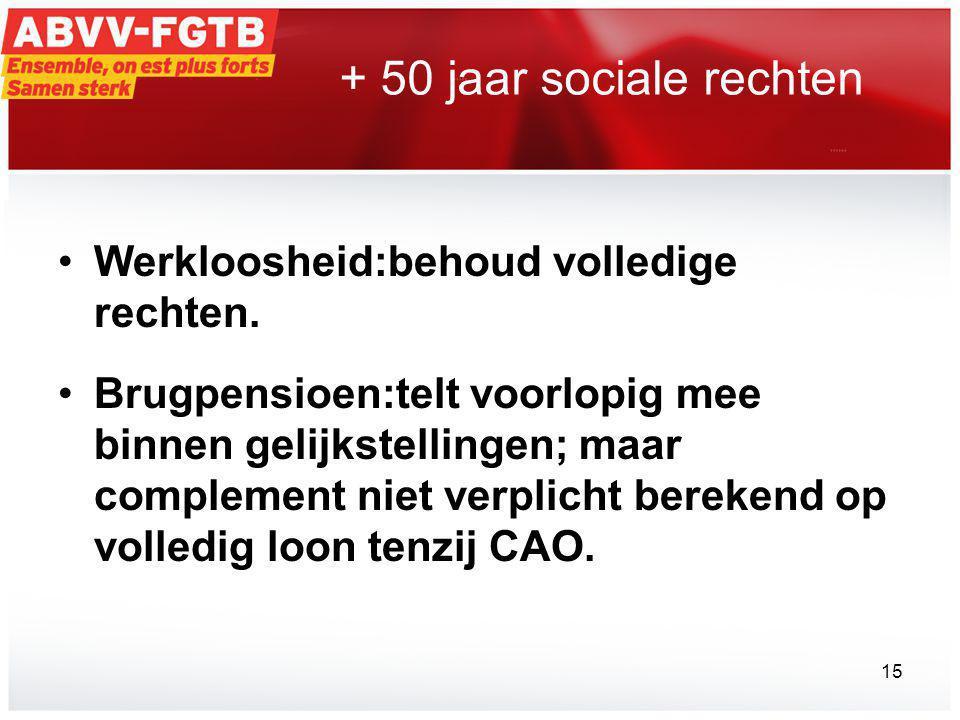 + 50 jaar sociale rechten Werkloosheid:behoud volledige rechten.