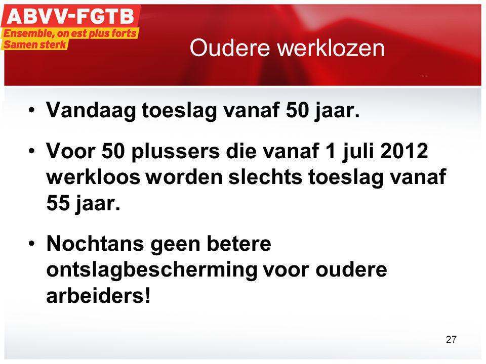 Oudere werklozen Vandaag toeslag vanaf 50 jaar.