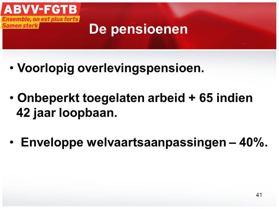 De pensioenen Voorlopig overlevingspensioen.
