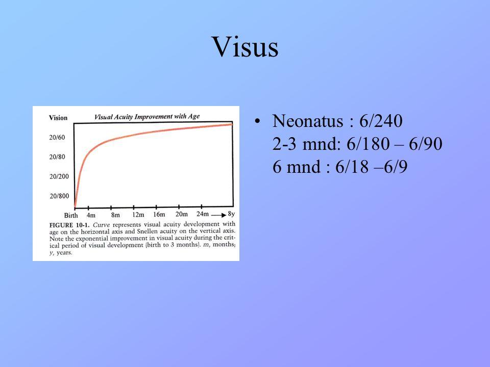 Visus Neonatus : 6/240 2-3 mnd: 6/180 – 6/90 6 mnd : 6/18 –6/9