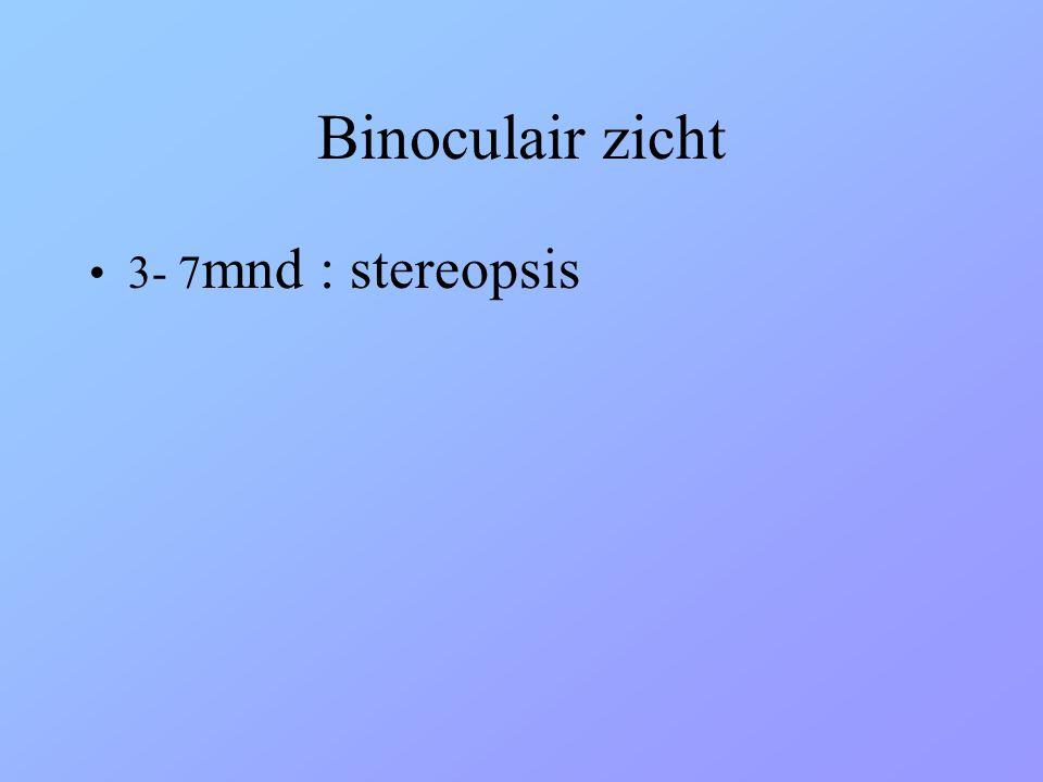 Binoculair zicht 3- 7mnd : stereopsis