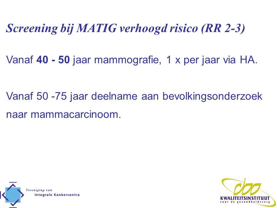 Screening bij MATIG verhoogd risico (RR 2-3)