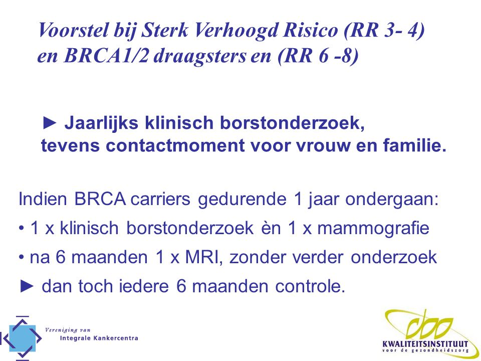 Voorstel bij Sterk Verhoogd Risico (RR 3- 4)