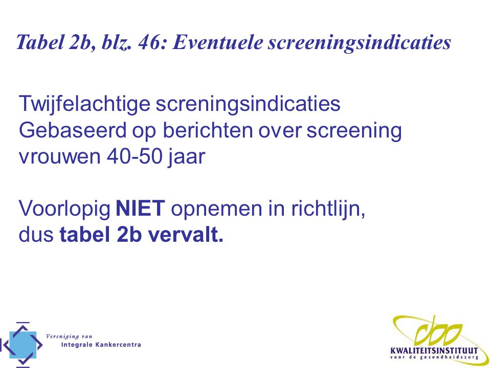 Tabel 2b, blz. 46: Eventuele screeningsindicaties