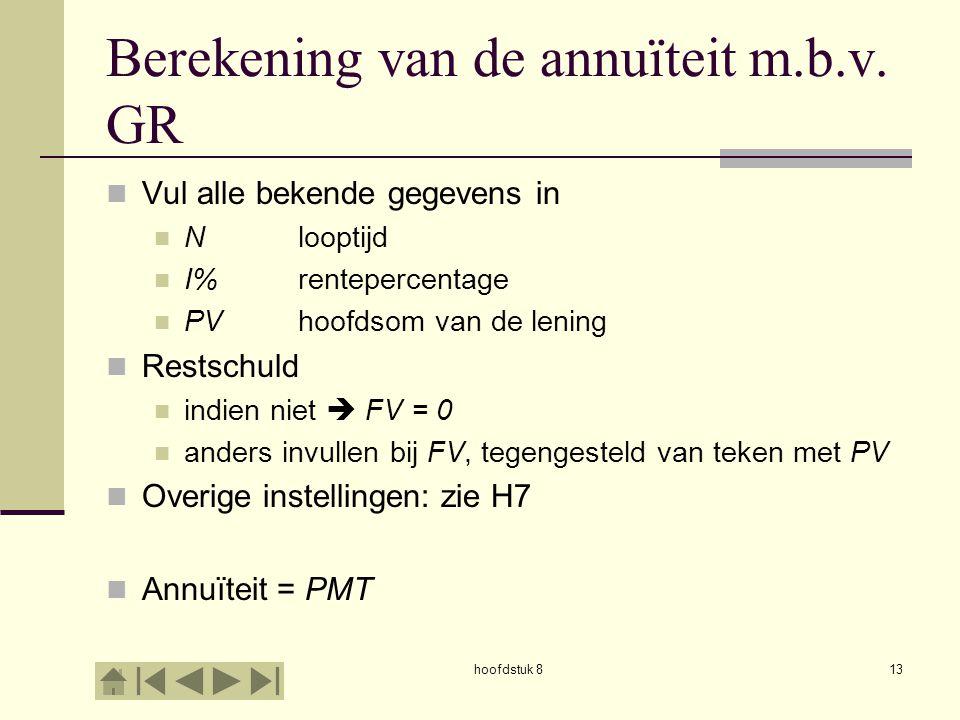 Berekening van de annuïteit m.b.v. GR