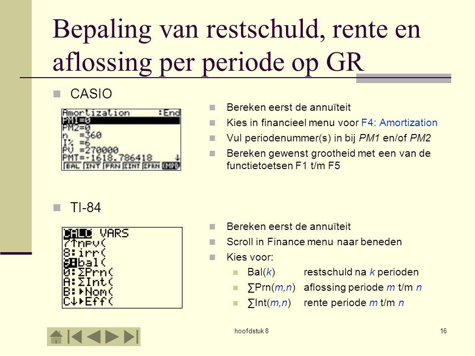 Bepaling van restschuld, rente en aflossing per periode op GR