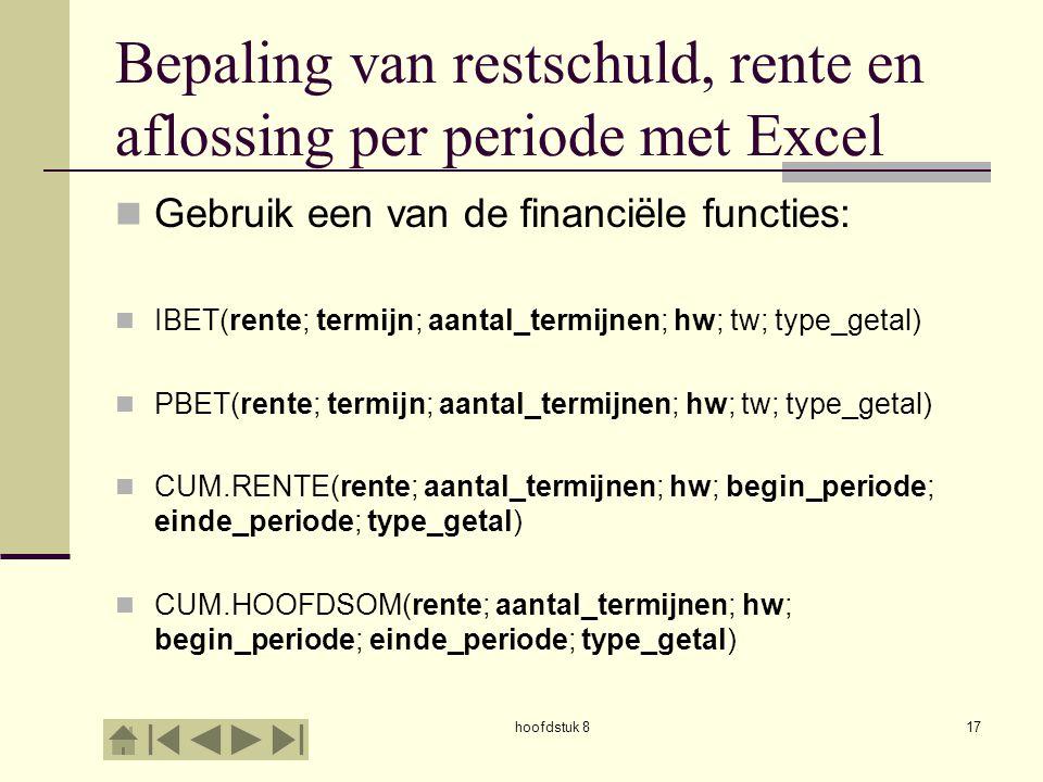 Bepaling van restschuld, rente en aflossing per periode met Excel