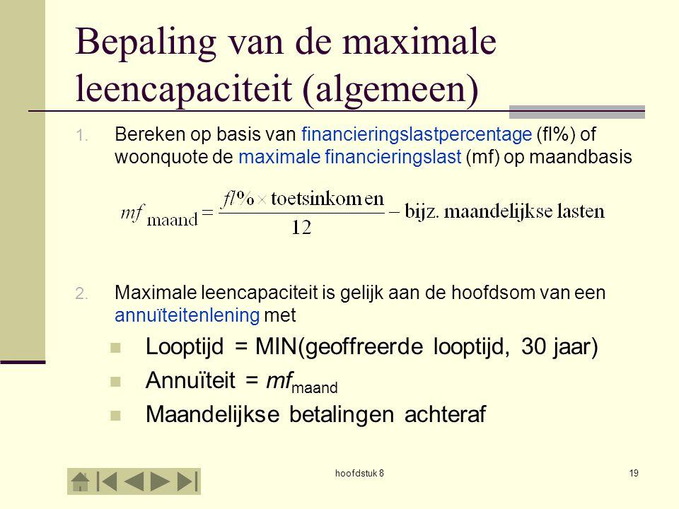 Bepaling van de maximale leencapaciteit (algemeen)