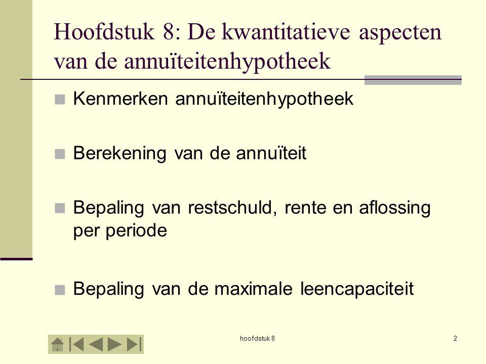 Hoofdstuk 8: De kwantitatieve aspecten van de annuïteitenhypotheek