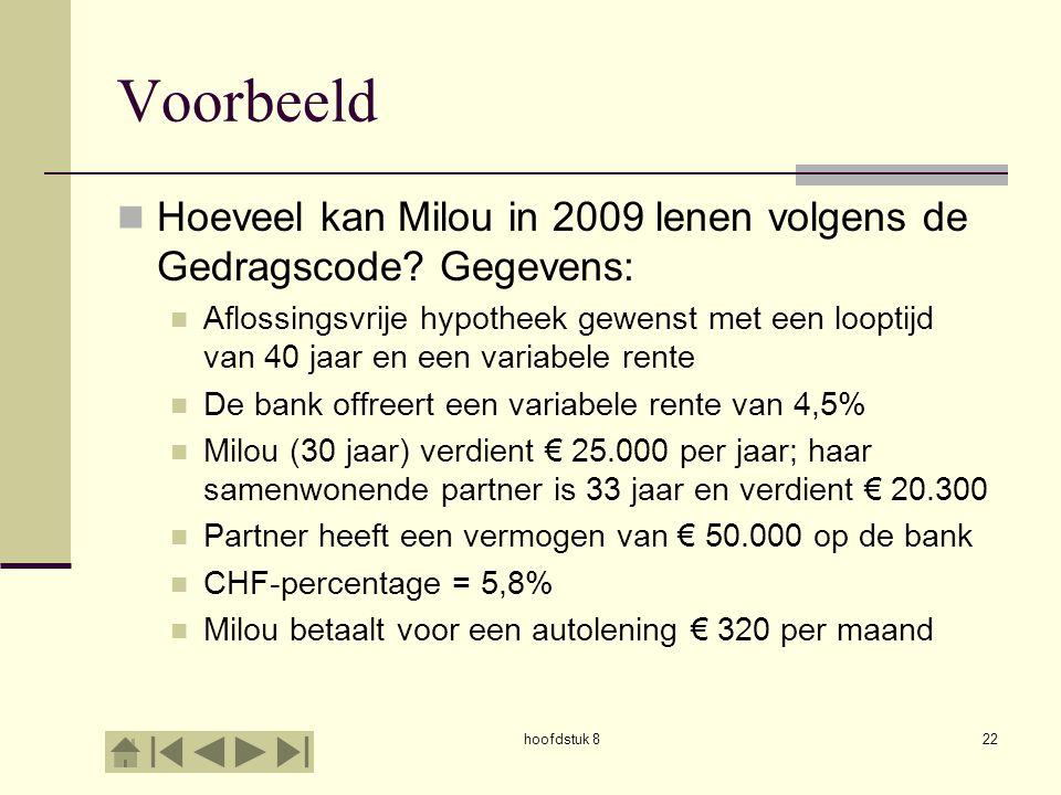 Voorbeeld Hoeveel kan Milou in 2009 lenen volgens de Gedragscode Gegevens: