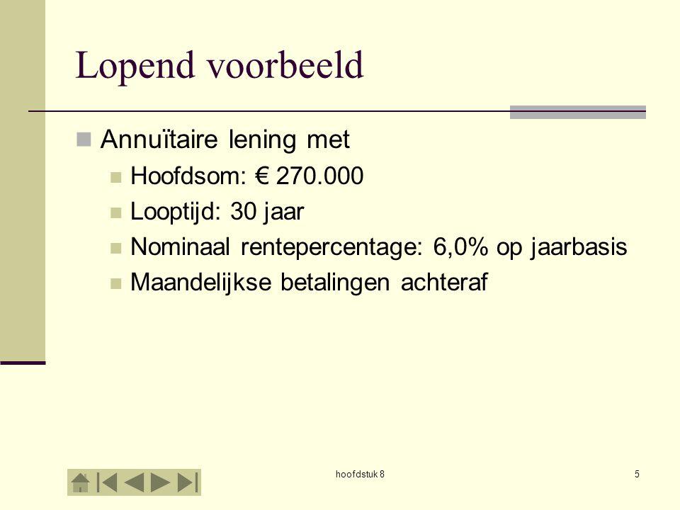 Lopend voorbeeld Annuïtaire lening met Hoofdsom: € 270.000
