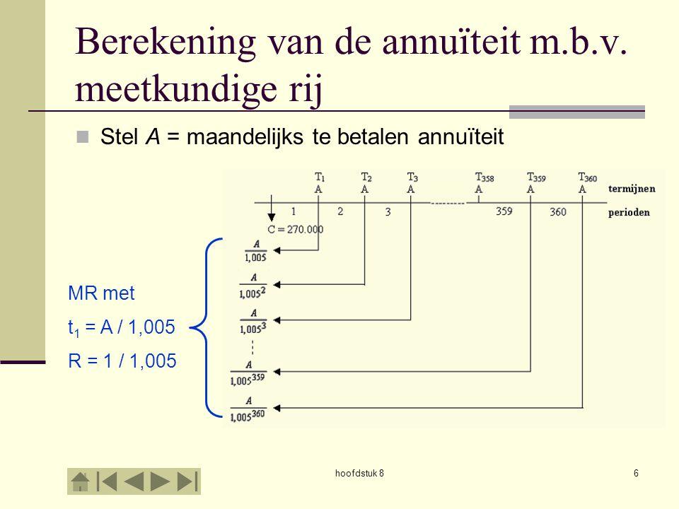 Berekening van de annuïteit m.b.v. meetkundige rij
