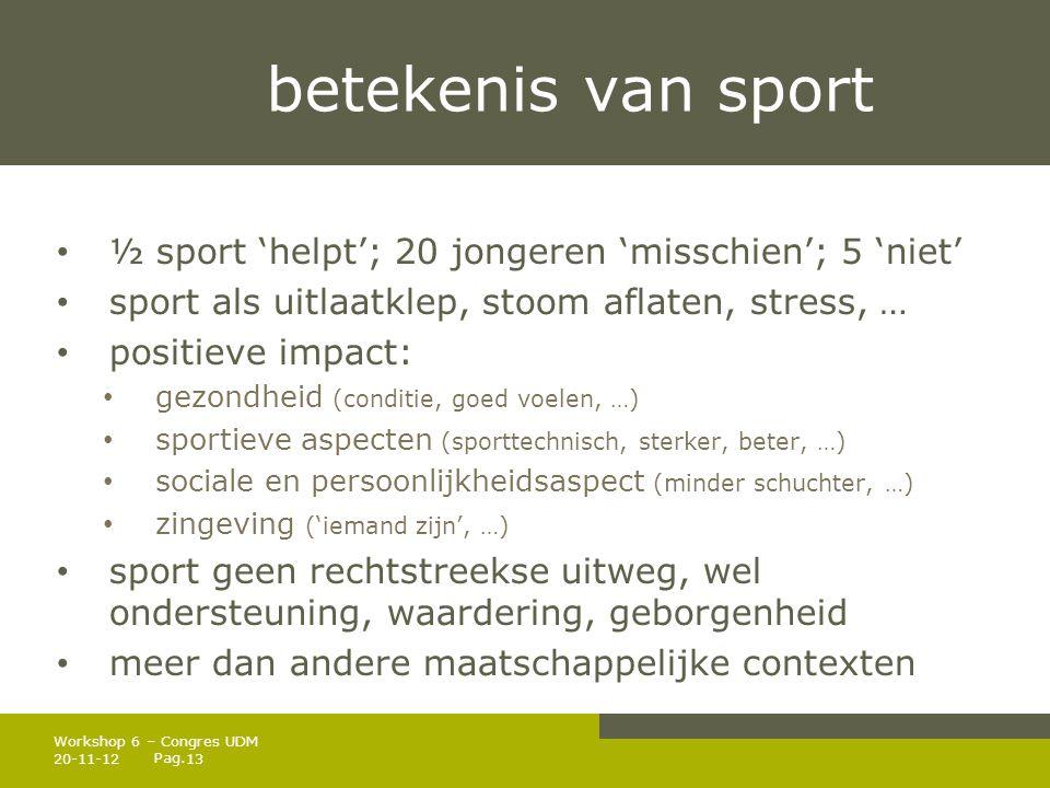 betekenis van sport ½ sport 'helpt'; 20 jongeren 'misschien'; 5 'niet'