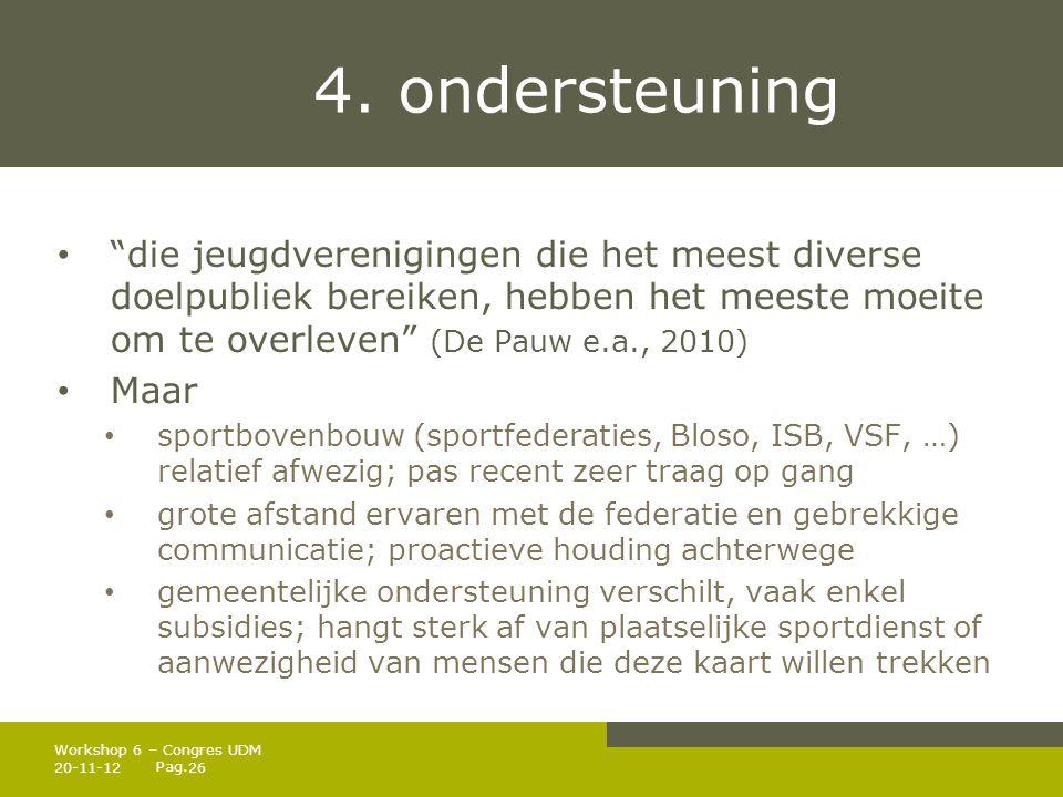 4. ondersteuning die jeugdverenigingen die het meest diverse doelpubliek bereiken, hebben het meeste moeite om te overleven (De Pauw e.a., 2010)