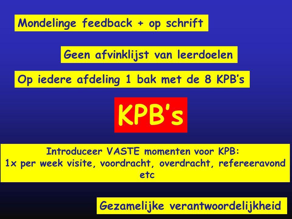 KPB's Mondelinge feedback + op schrift Geen afvinklijst van leerdoelen