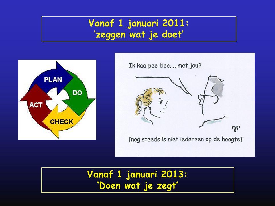 Vanaf 1 januari 2011: 'zeggen wat je doet' Vanaf 1 januari 2013:
