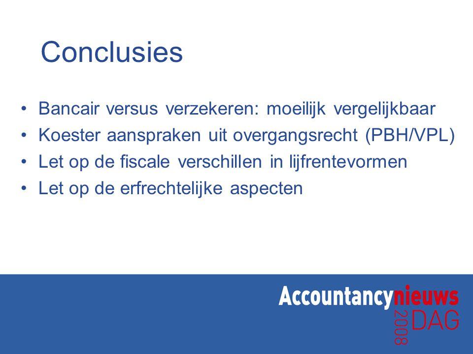 Conclusies Bancair versus verzekeren: moeilijk vergelijkbaar