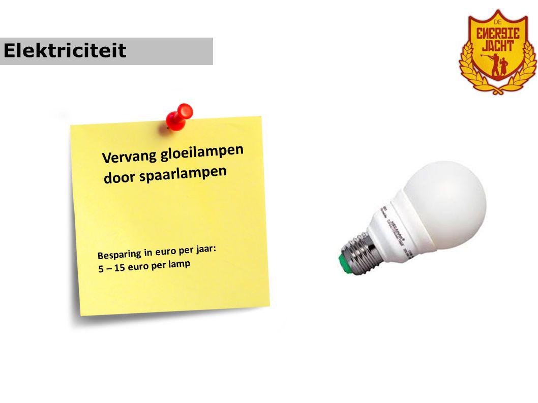 Elektriciteit Vervang gloeilampen door spaarlampen