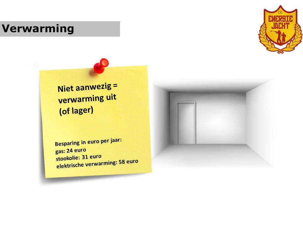Verwarming Niet aanwezig = verwarming uit (of lager)
