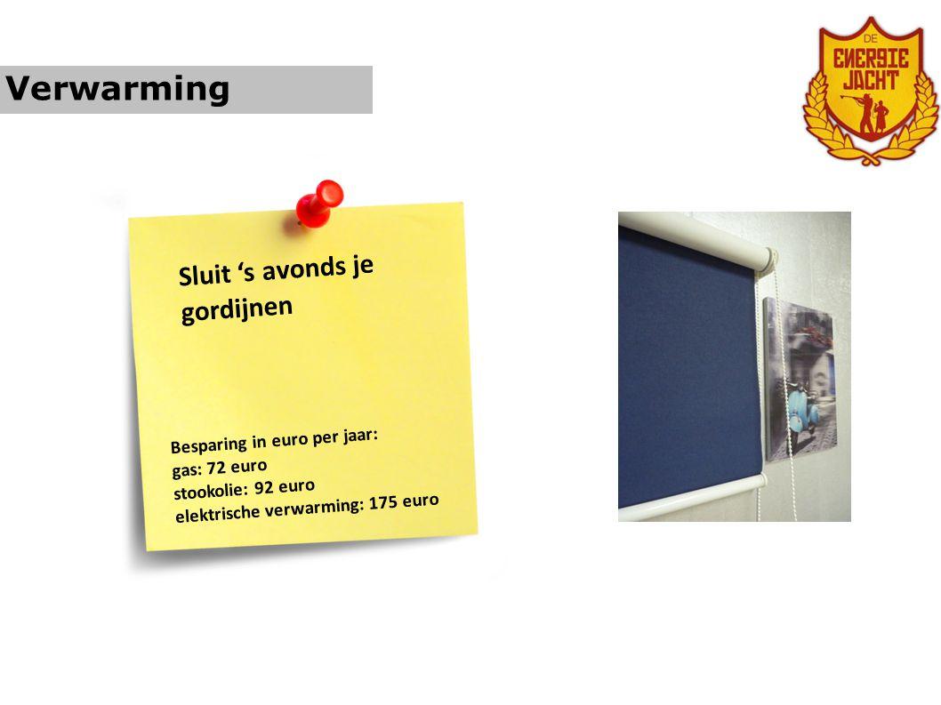 Verwarming Sluit 's avonds je gordijnen Besparing in euro per jaar: