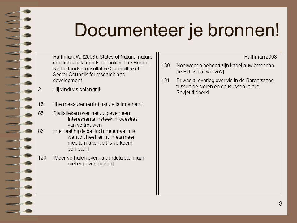 Documenteer je bronnen!