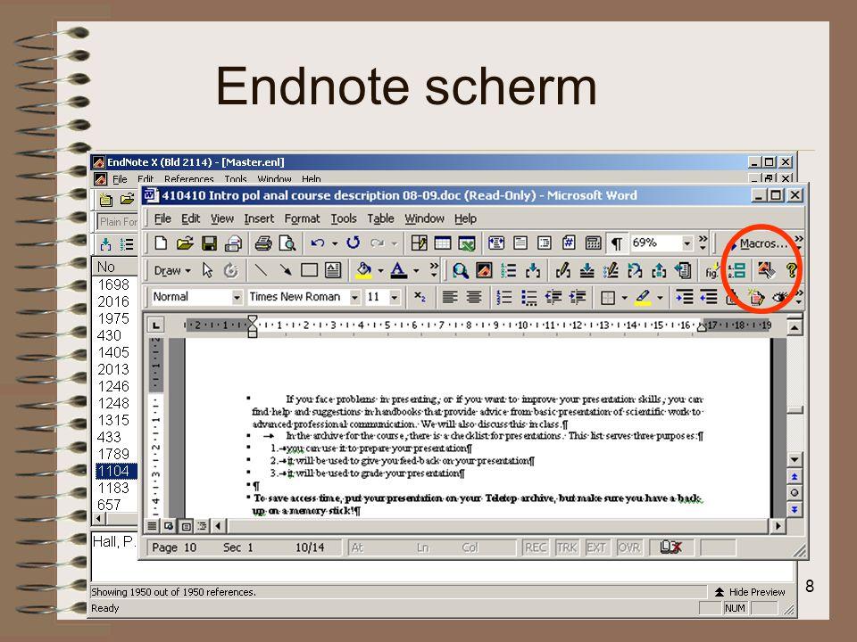 Endnote scherm