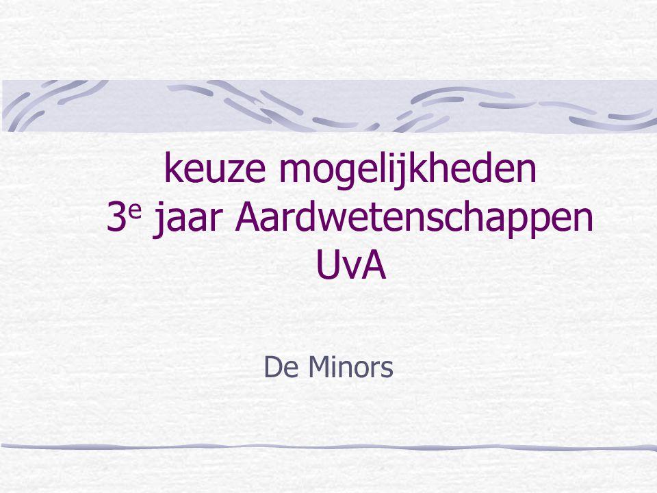 keuze mogelijkheden 3e jaar Aardwetenschappen UvA