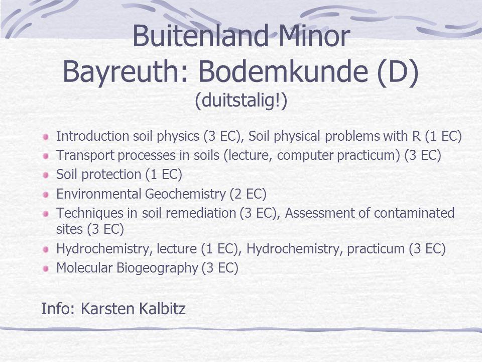 Buitenland Minor Bayreuth: Bodemkunde (D) (duitstalig!)