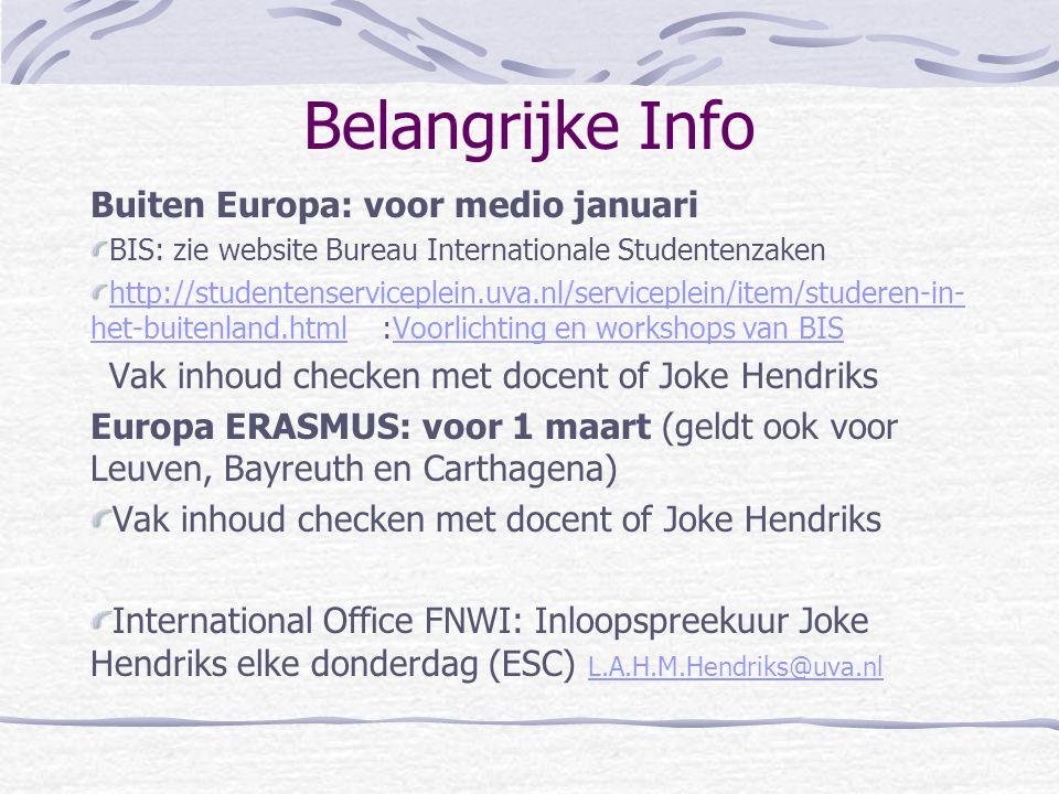 Belangrijke Info Buiten Europa: voor medio januari