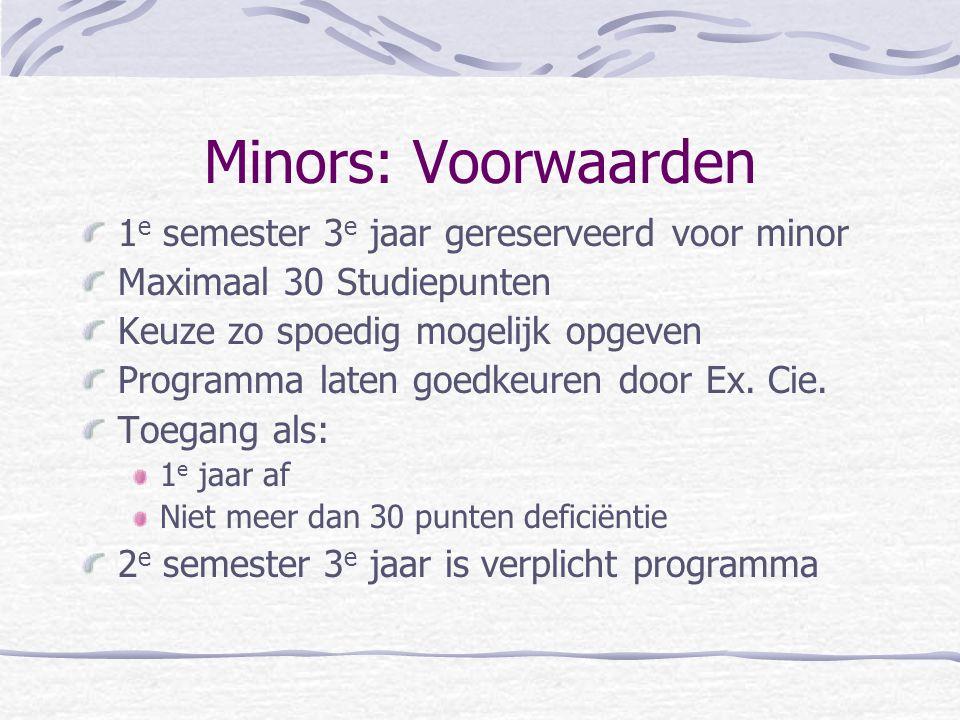 Minors: Voorwaarden 1e semester 3e jaar gereserveerd voor minor