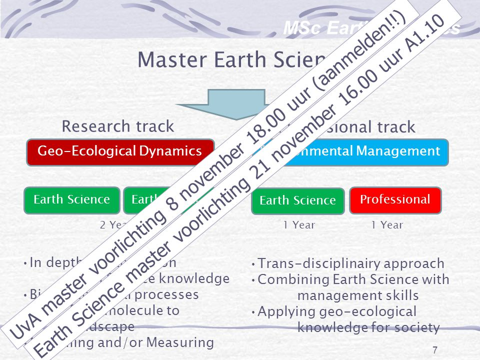 Master Earth Science MSc Earth Sciences