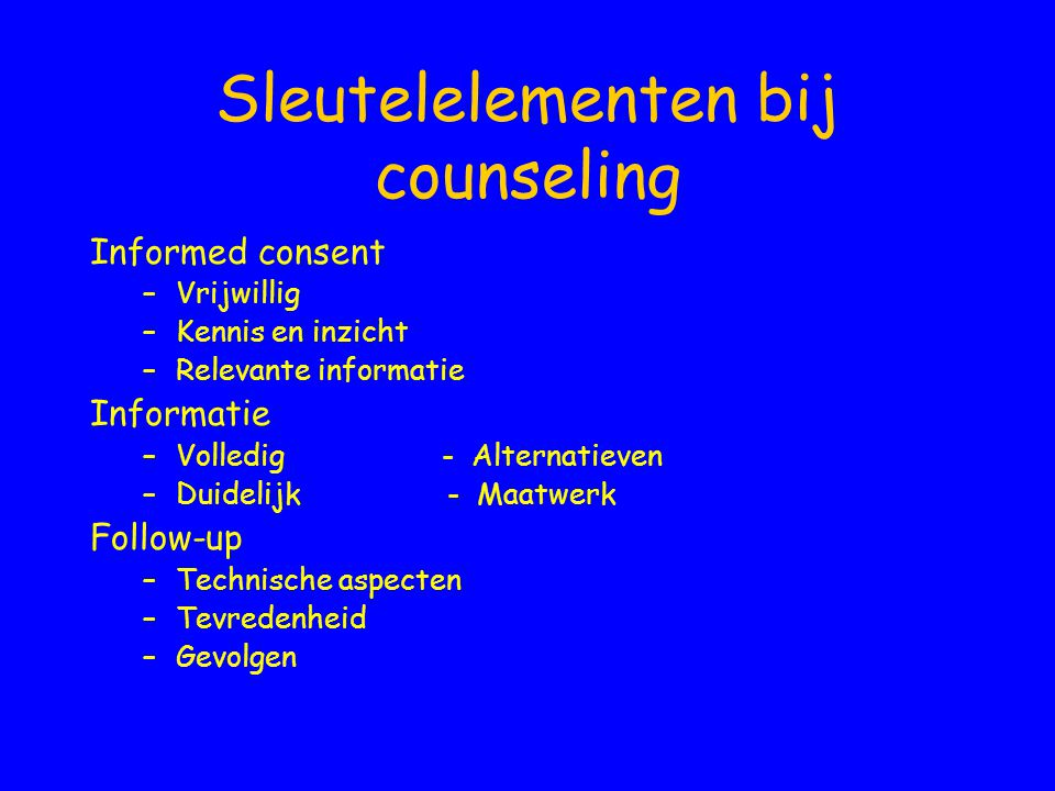 Sleutelelementen bij counseling