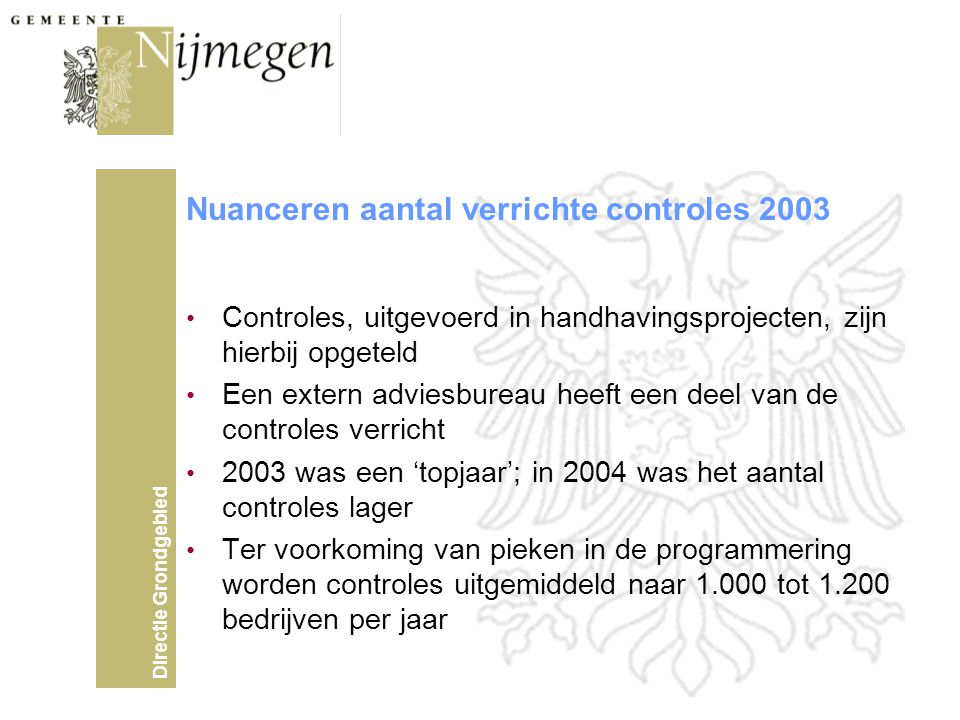 Nuanceren aantal verrichte controles 2003