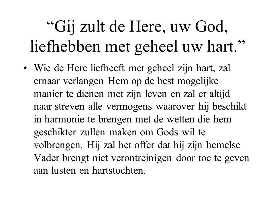 Gij zult de Here, uw God, liefhebben met geheel uw hart.