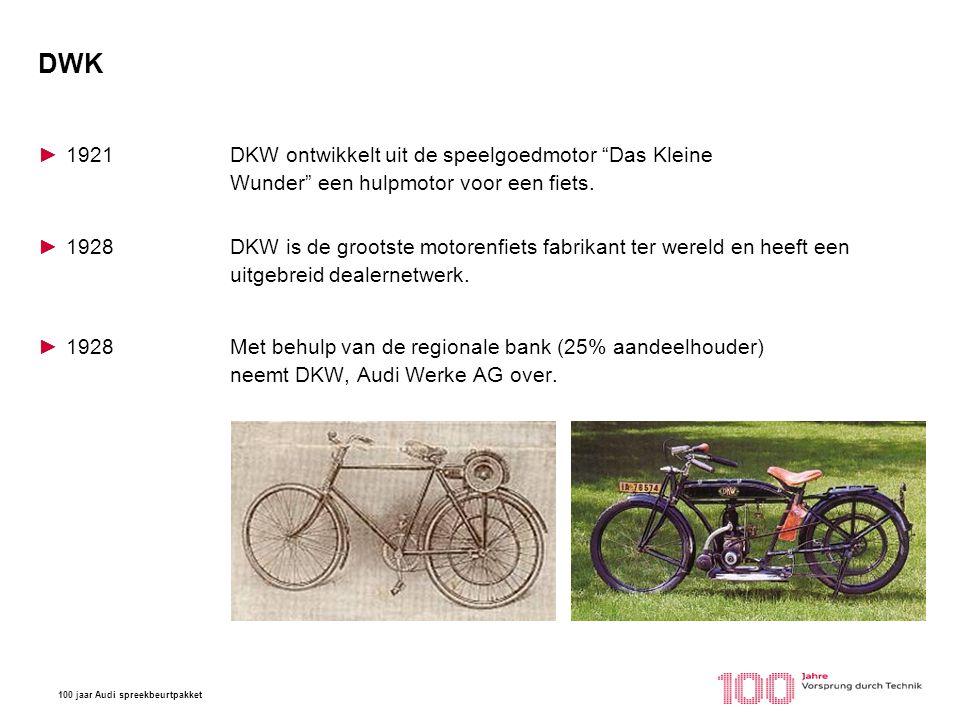 DWK 1921 DKW ontwikkelt uit de speelgoedmotor Das Kleine Wunder een hulpmotor voor een fiets.