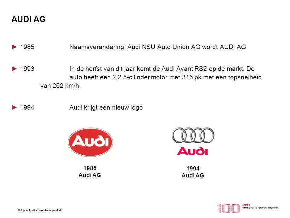 AUDI AG 1985 Naamsverandering: Audi NSU Auto Union AG wordt AUDI AG