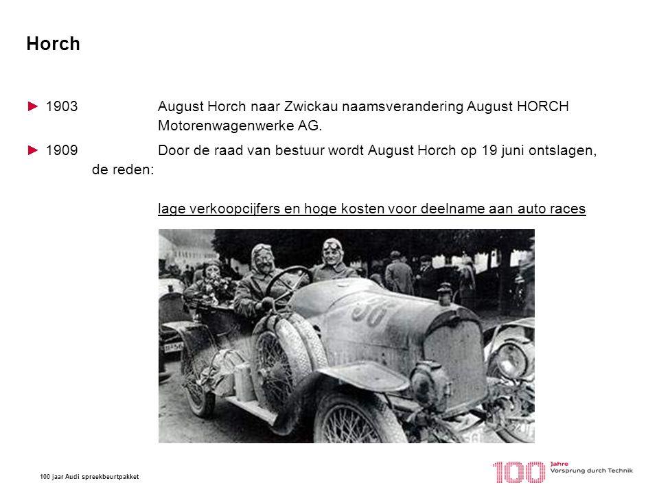 Horch 1903 August Horch naar Zwickau naamsverandering August HORCH Motorenwagenwerke AG.