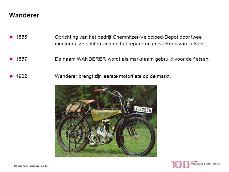 Wanderer 1885 Oprichting van het bedrijf Chemnitzer-Velociped-Depot door twee monteurs, ze richten zich op het repareren en verkoop van fietsen.