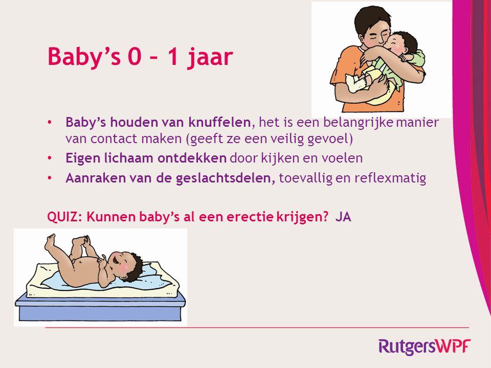 Baby's 0 – 1 jaar Baby's houden van knuffelen, het is een belangrijke manier van contact maken (geeft ze een veilig gevoel)