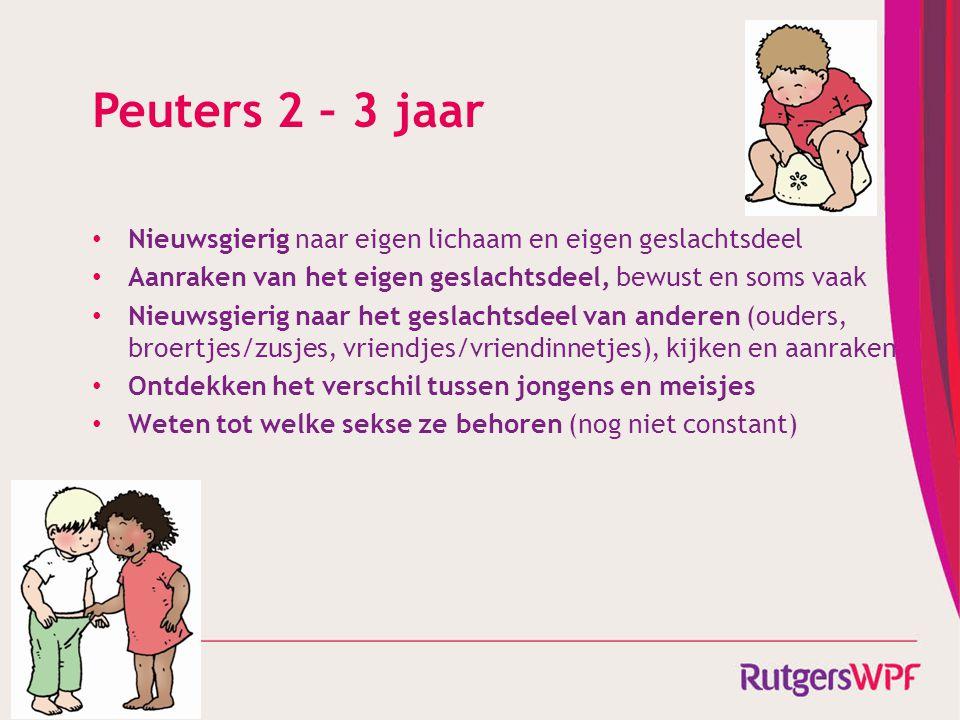 Peuters 2 – 3 jaar Nieuwsgierig naar eigen lichaam en eigen geslachtsdeel. Aanraken van het eigen geslachtsdeel, bewust en soms vaak.