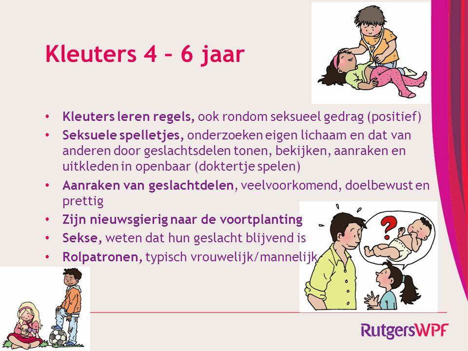 Kleuters 4 – 6 jaar Kleuters leren regels, ook rondom seksueel gedrag (positief)