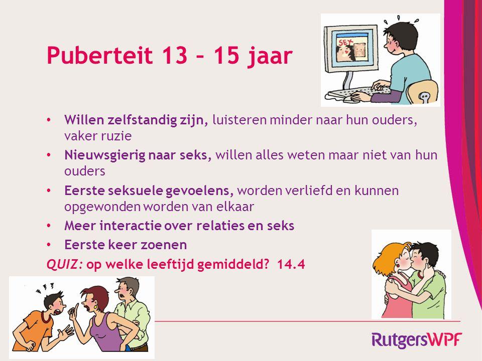 Puberteit 13 – 15 jaar Willen zelfstandig zijn, luisteren minder naar hun ouders, vaker ruzie.