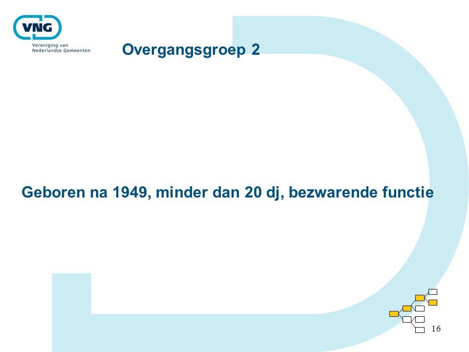 Overgangsgroep 2 Geboren na 1949, minder dan 20 dj, bezwarende functie
